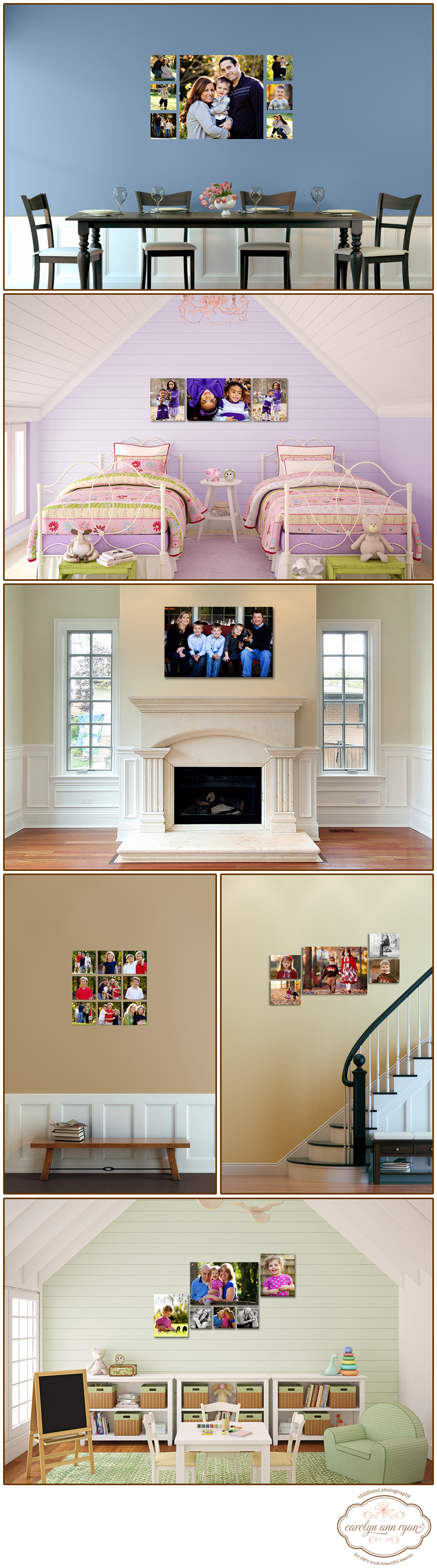 Charlotte, North Carolina Family Photographer demonstrates ways to display family photographs in your home