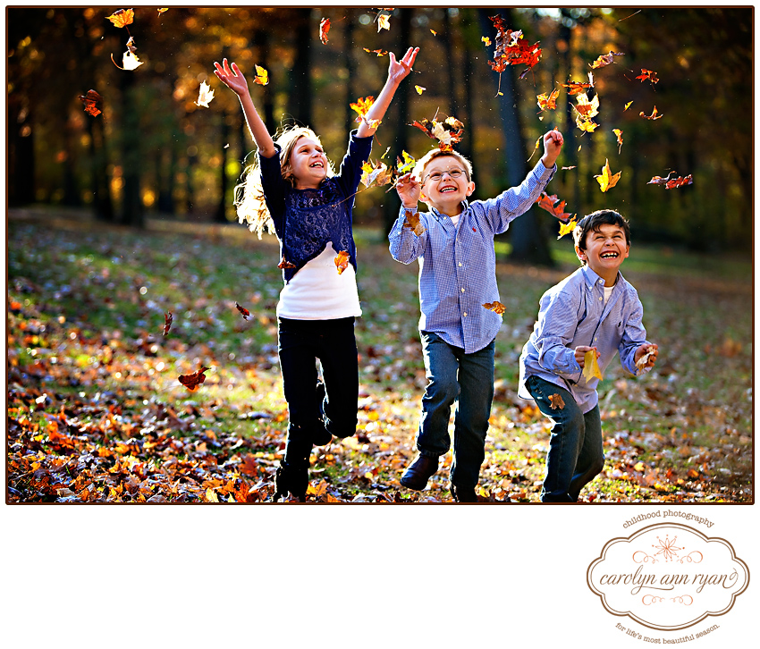 Marvin, NC Family and Child Photographer photographs children throwing leaves