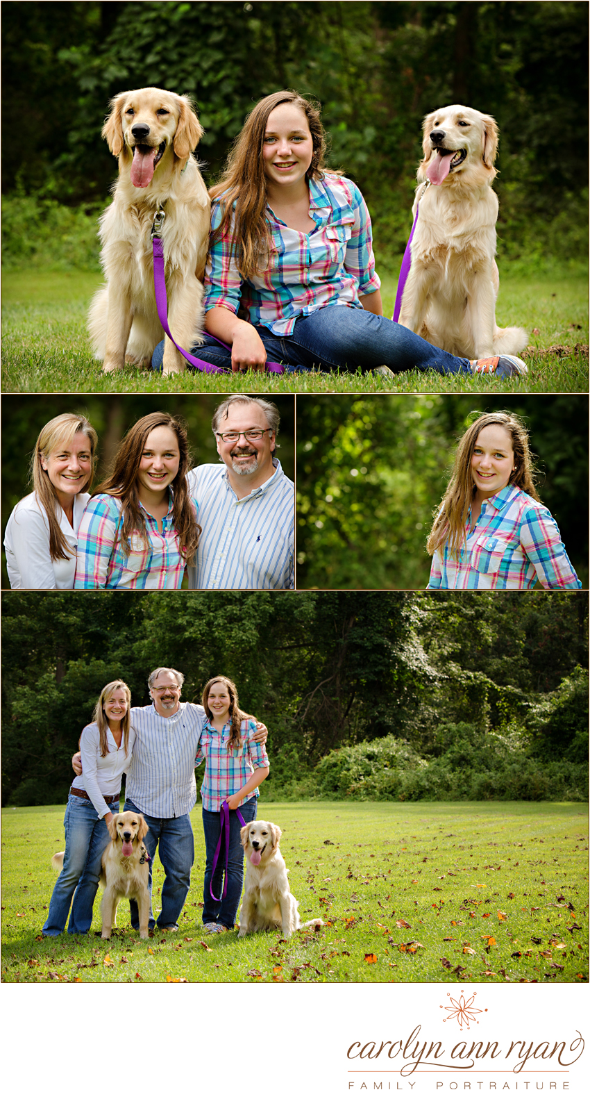 Carolyn Ann Ryan photographs and family with their two golden retrievers for a family portrait session in Charlotte, NC