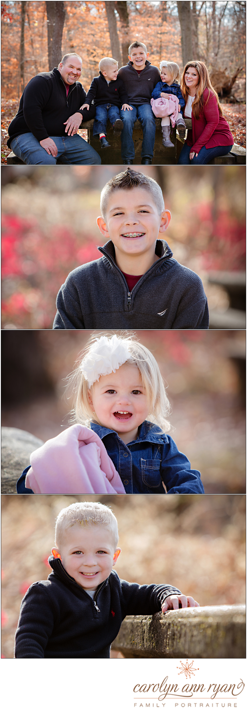 Classic Charlotte, NC Fall Family Portraits with beautiful autumn colors