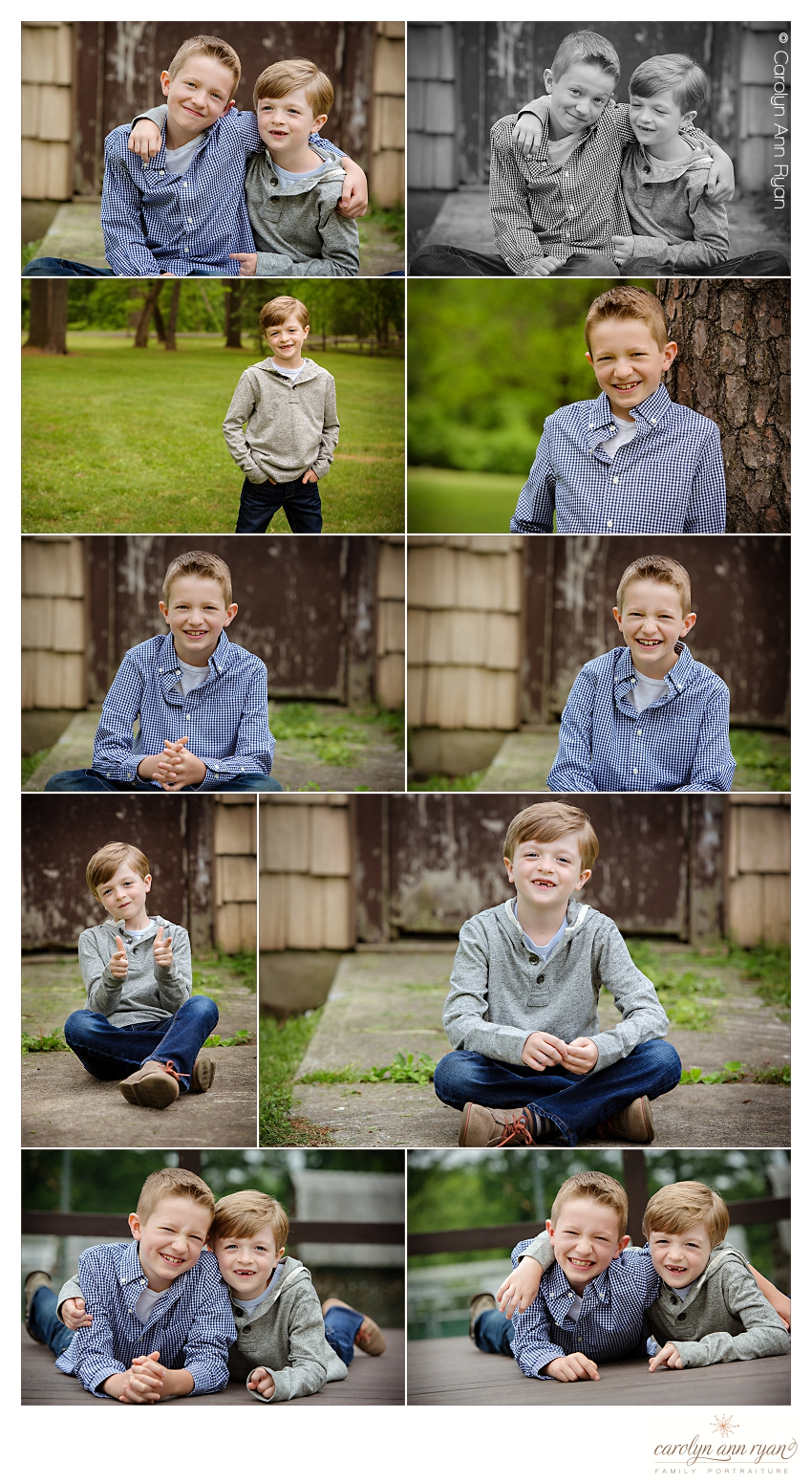 Charlotte Family Photographer, Carolyn Ann Ryan, creates portraits of brothers for a Fall Family Portrait Session