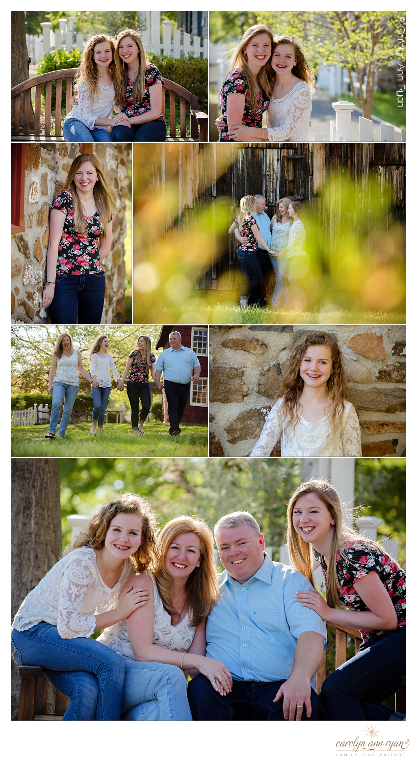 North Carolina Family Photographer, Carolyn Ann Ryan, photographs clients on location in a historic village.