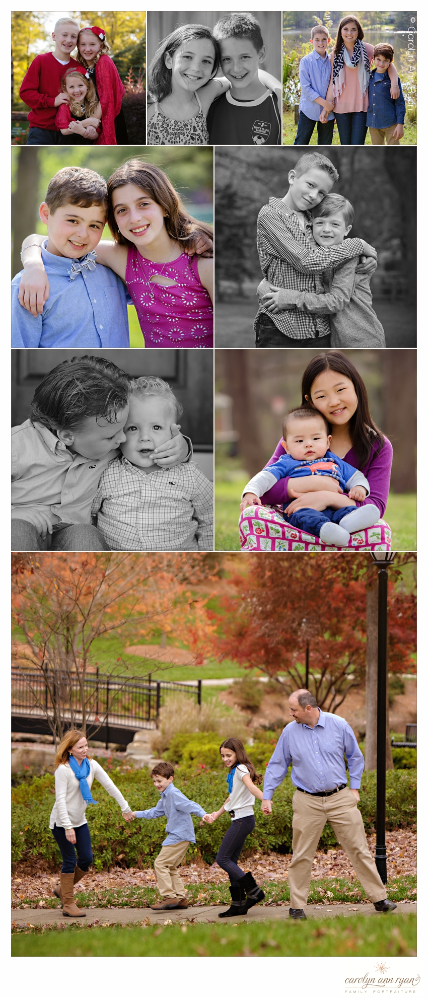 Classic Charlotte NC Family Portraits shared by Carolyn Ann Ryan for National Siblings Day shared by family photographer Carolyn Ann Ryan