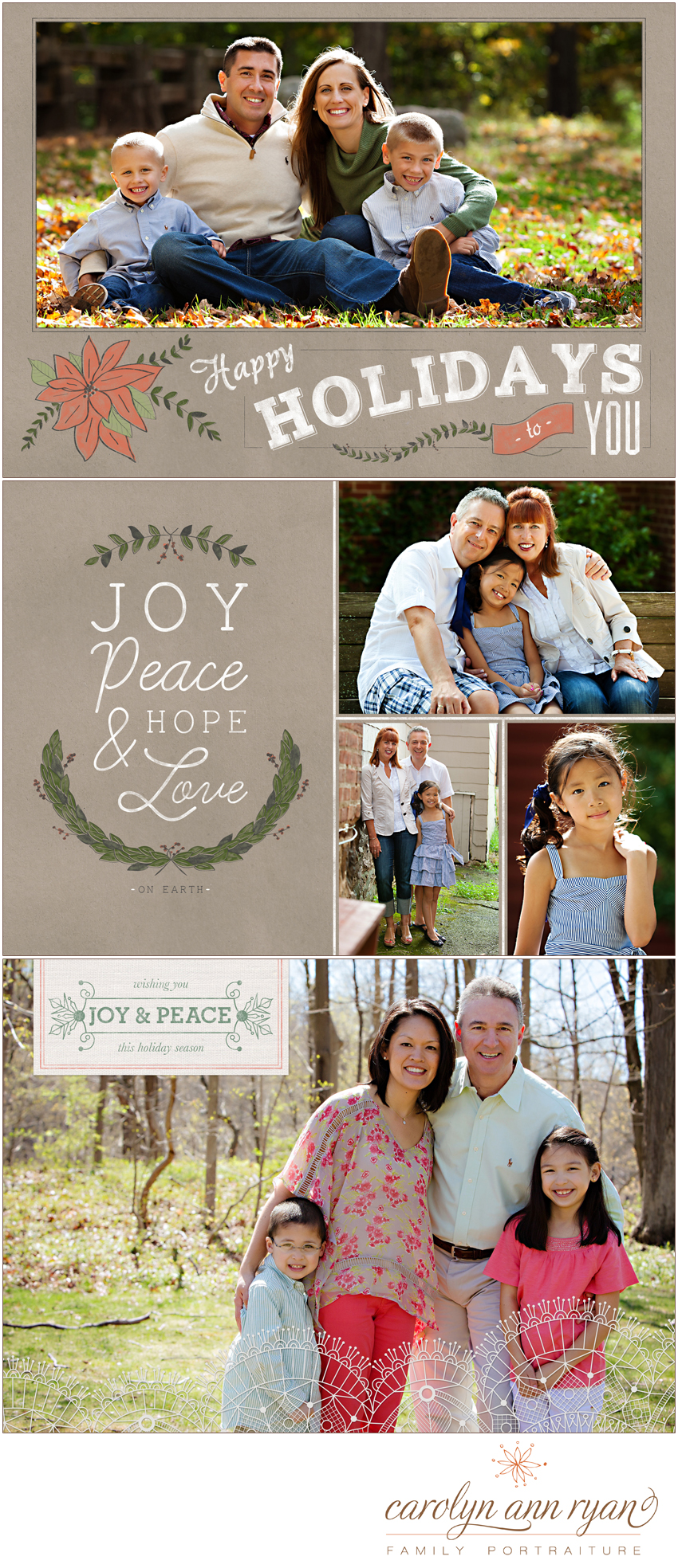 The Carolinas Family Photographer shares samples of Holiday Card Designs
